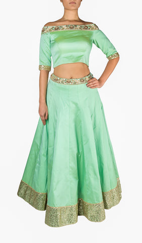 Mint Green Silk Lengha with  Off The Shoulder Blouse and Contrast Navy Blue Net Dupatta