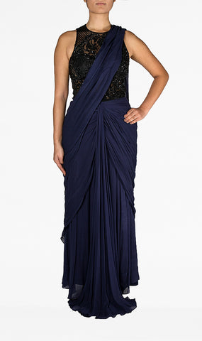 Navy Blue Saree with Black
