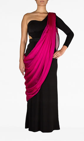 Black Saree with Cerise Dupatta