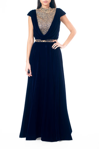 Cowl Lace and Velvet Gown