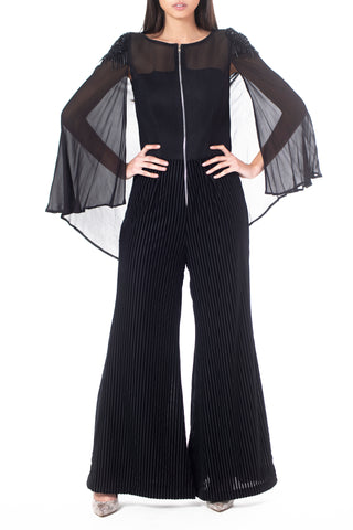 Velvet Stripe Flared Jumpsuit with Motif Embroidered Cape