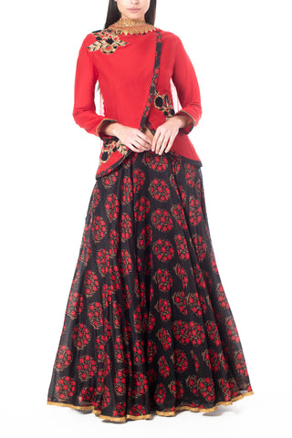Flower Motif Skirt Set