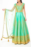 Sea Green Silk Anarkali with Gota, Zari and Swarovski Work