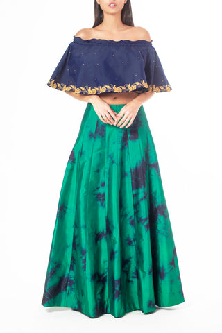 Midnight Blue Off-Shoulder Tube Top, Thread and Sequin Work Green with Blue Tie-Dyed Silk Skirt