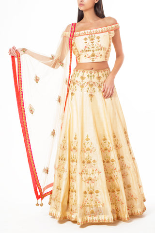 Cream Off-Shoulder Lengha with Resham Thread and Sequin Work