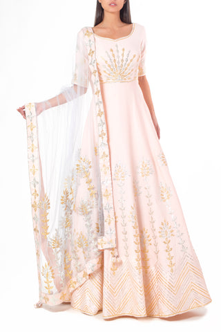 Blush Pink Anarkali with Silver and Gold Gota Embellishments