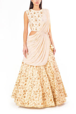Cream Silk Lengha with Attached Dupatta with Pearl and Sequin Work