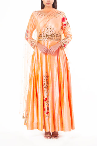 Salmon Pink Raw Silk Anarkali Suit with Front Slit and Floral Sequins and Resham Work
