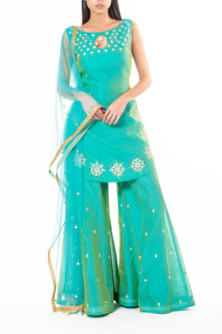 Teal Chanderi Sharara with Pearl and Mirror Work