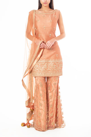 Peach Sharara with Thread, Zari and Pearl Work