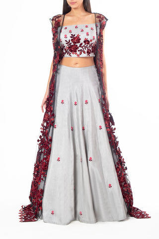 Grey Off-Shoulder Lehenga with Thread Work and Maroon Floral Lace Jacket