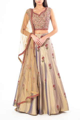 Metallic Light Brown Silk Lengha with Floral Block Print and Sequin Embellishment