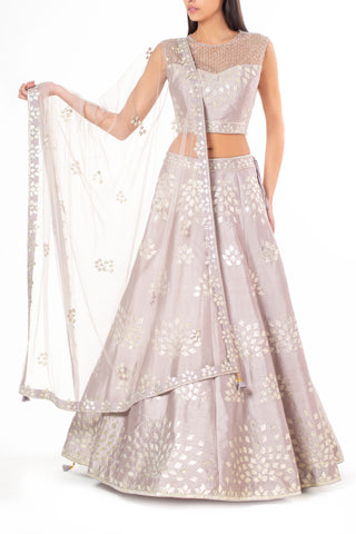 Grey Silk Lengha with Gota, Sequin and Katdana Embellishment
