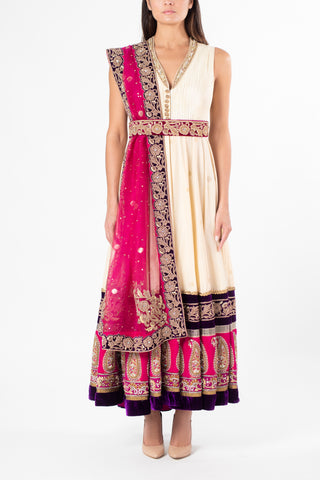 Ekta Solanki Belted Light Gold and Magenta Anarkali
