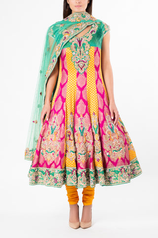 Ekta Solanki Multi Coloured Brocade Anarkali