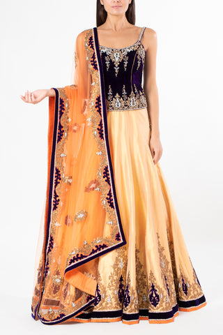Ekta Solanki Gold and Purple Antique Crystal Lengha