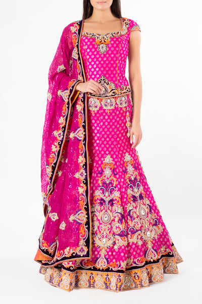 Ekta Solanki Fuschia Pink Brocade and Purple Lengha
