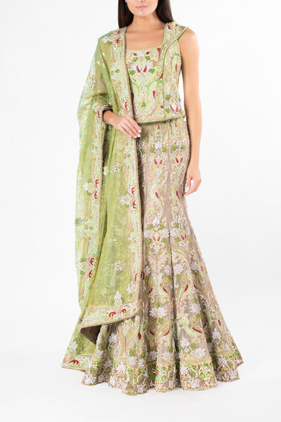 Ekta Solanki Gold Banarsi Tissue and Apple Green Crystal Lengha