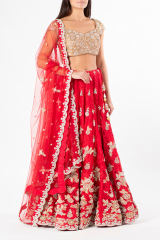 Ekta Solanki Scarlet Red Lace and Gold Crystal Lengha
