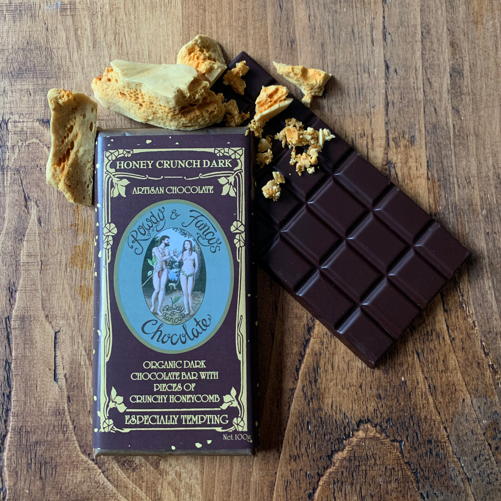 Rowdy & Fancys Honey Comb Dark chocolate bars