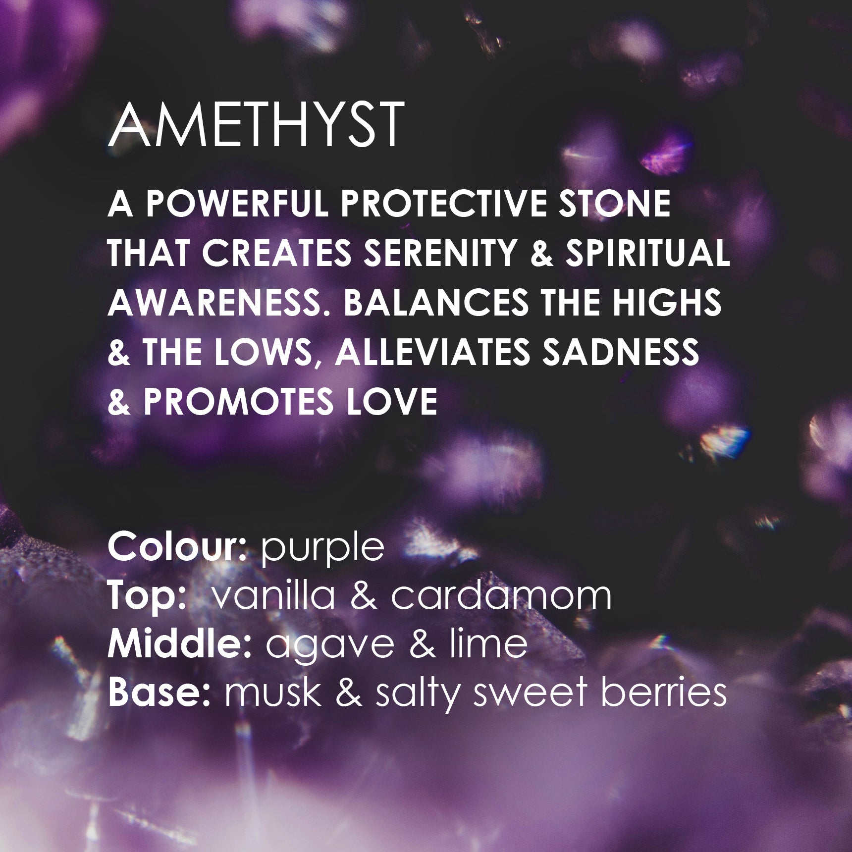 Image of Amethyst Candle card text with Amethyst stone background