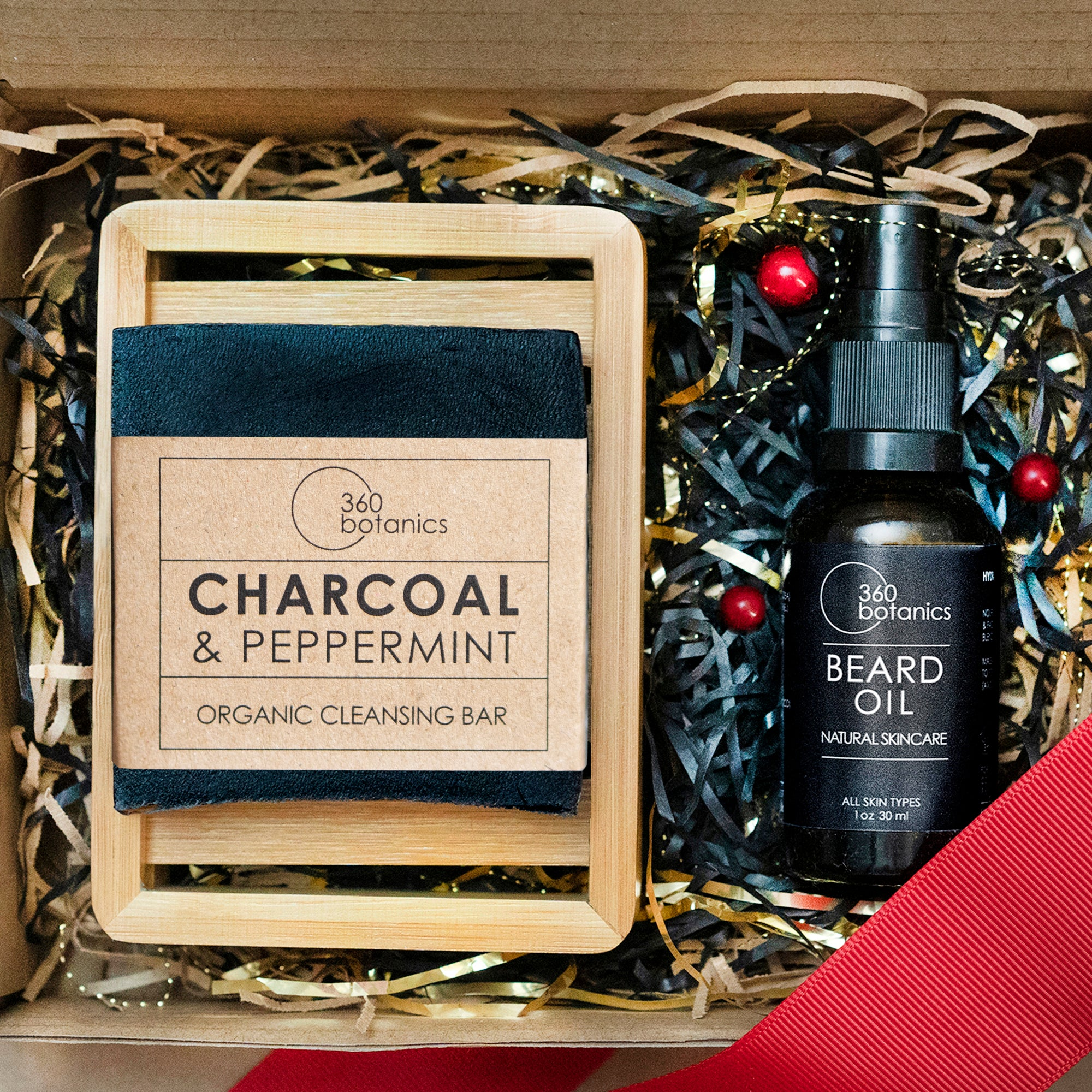 image of open gift box with beard oil and black soap