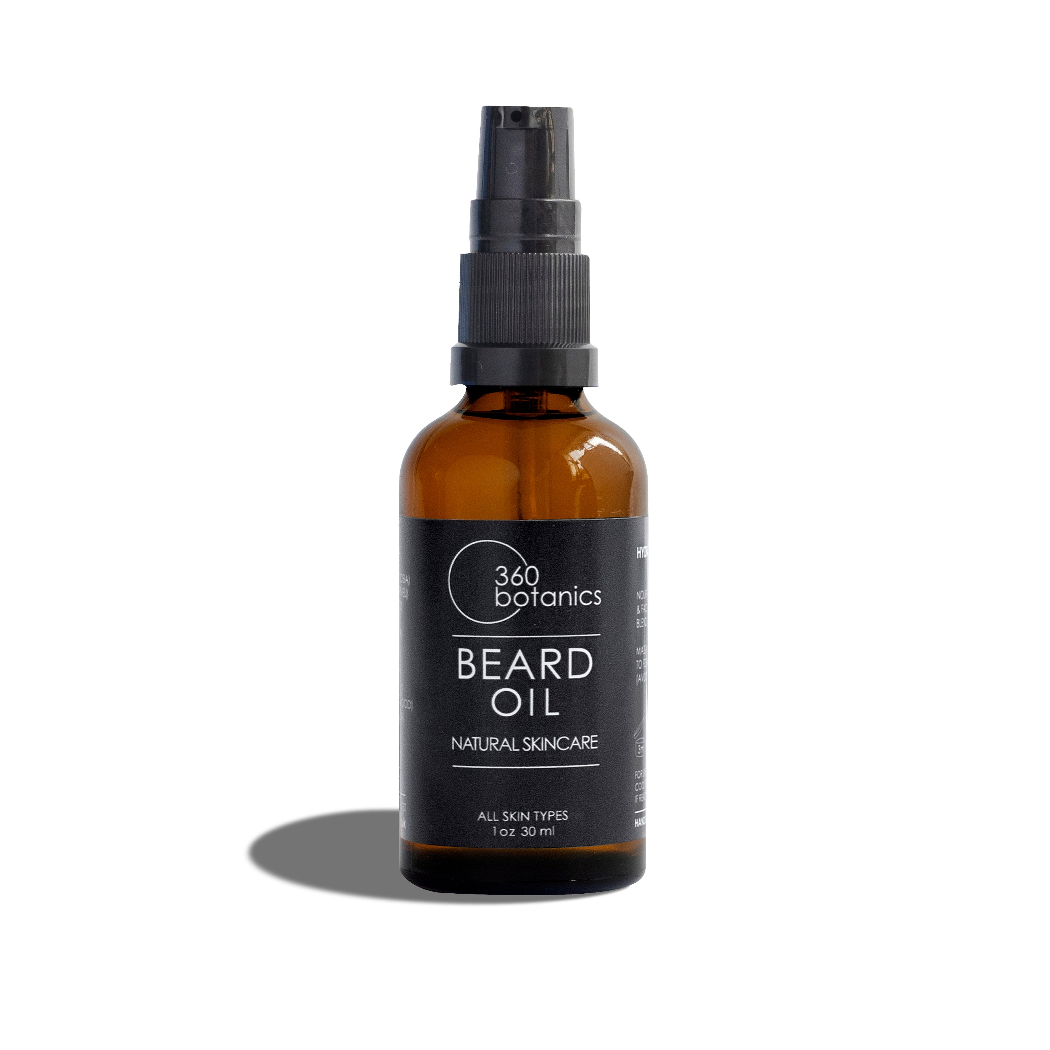 Image of 360 botanics Beard oil bottle photographed on white background