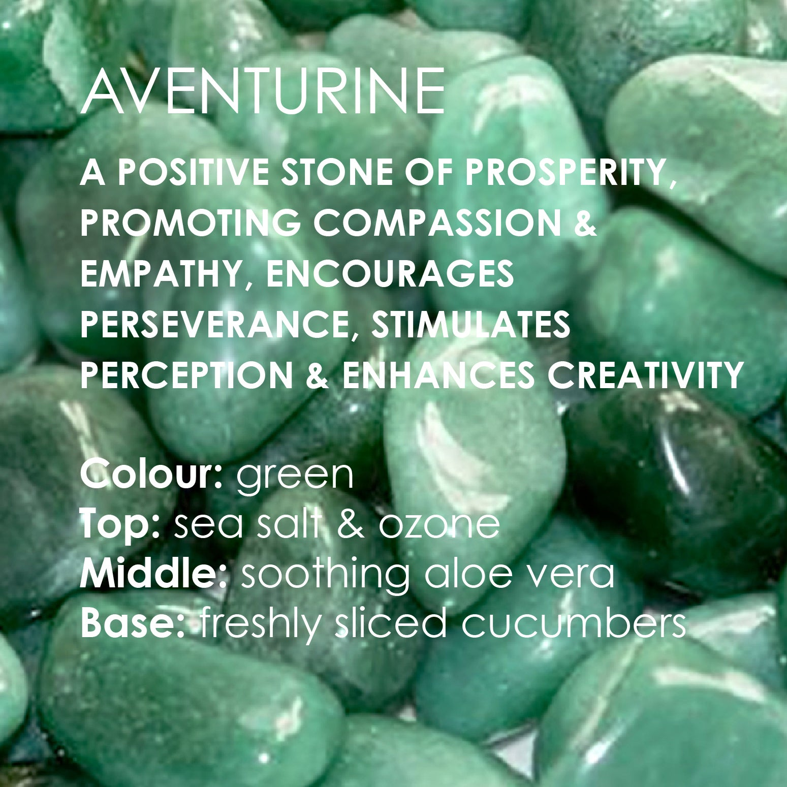 Image of Adventurine Candle card text with Adventurine stone background