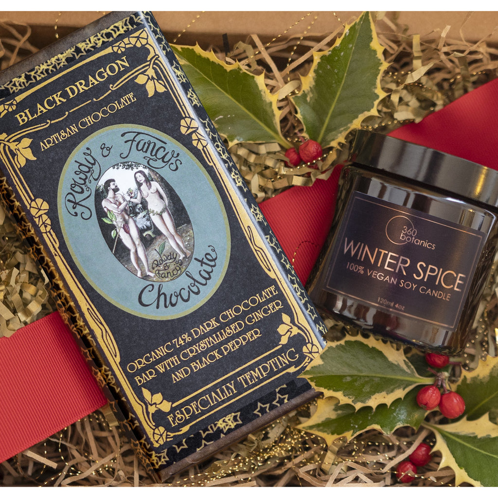 Image of Rowdy & Fancy artisan chocolate bar and Winter spice soy candle in gift box