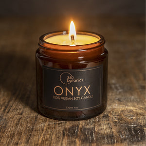 Open image in slideshow, photo of 360 Botanics Onyx Candle shot with dark wooden background