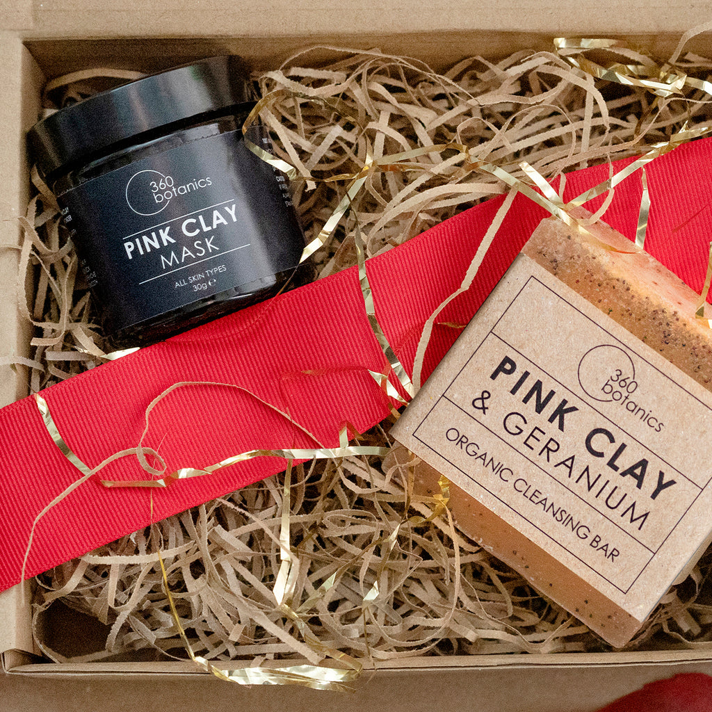 Pin clay mask and Pink clay soap in gift box with red ribbon