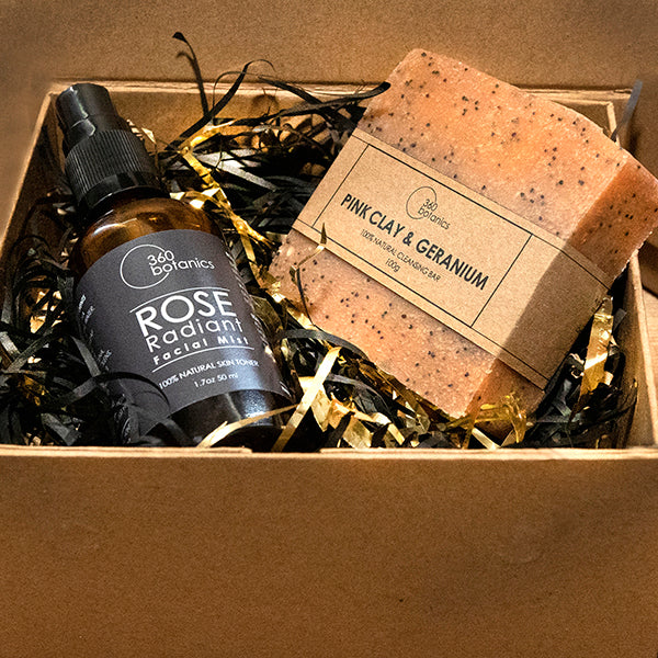 image pink clay soap and Rose radiant facial mist in a open gift box
