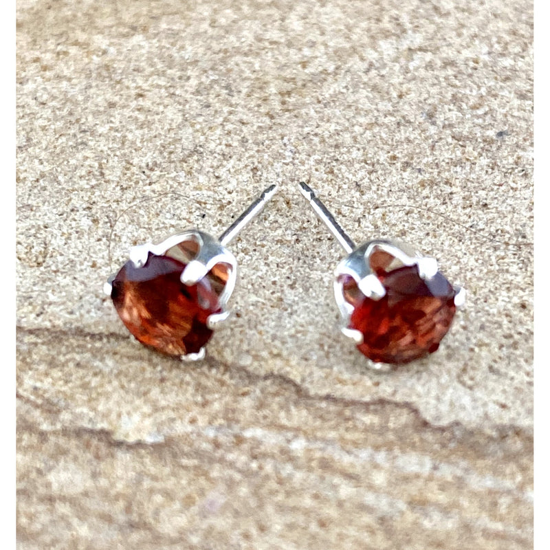 Garnet Stud Earrings #235