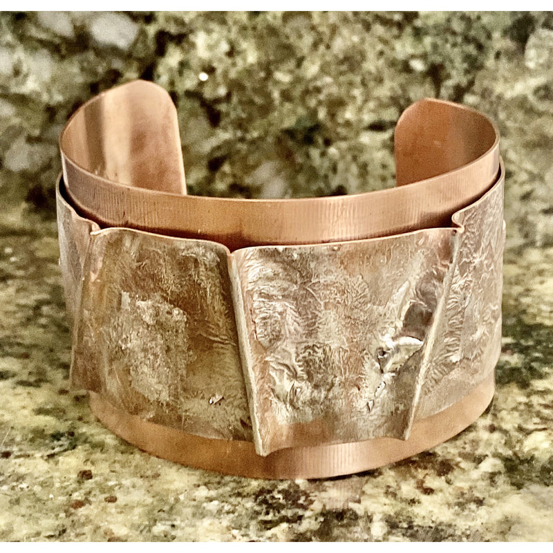 Gentlemens Silver Fusion Cuff with Folds #240