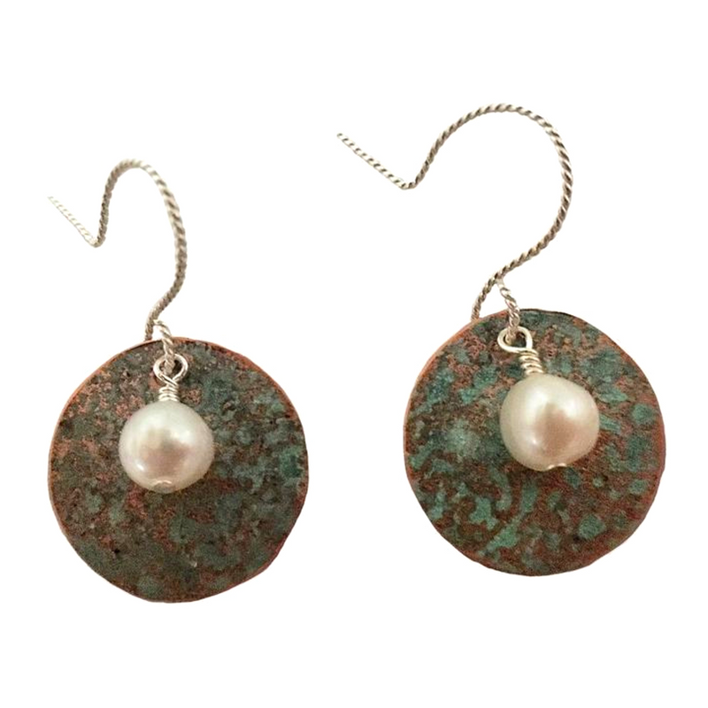 Patina & Pearl Round Earrings #94