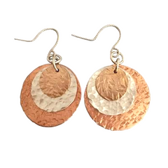 Mixed Metal Round Earrings #136