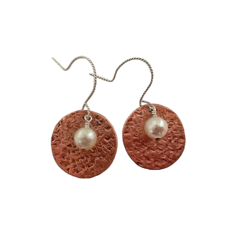 Hammered Copper & Pearl Earrings - tres-elegante-designs