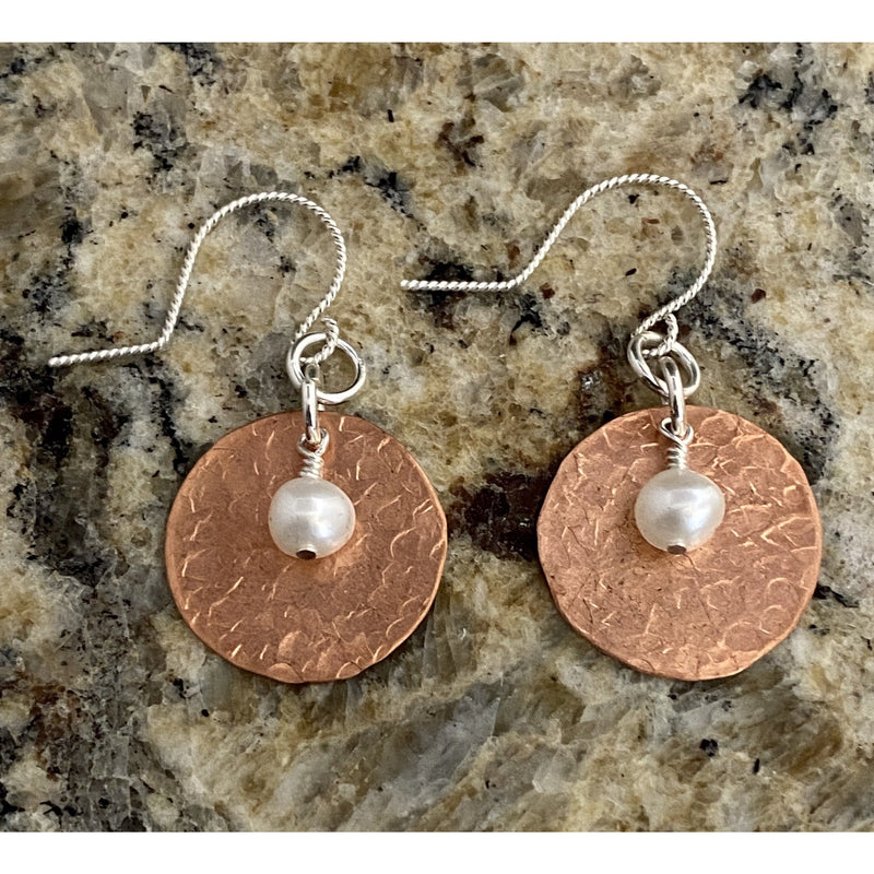 Hammered Copper & Pearl Earrings #96