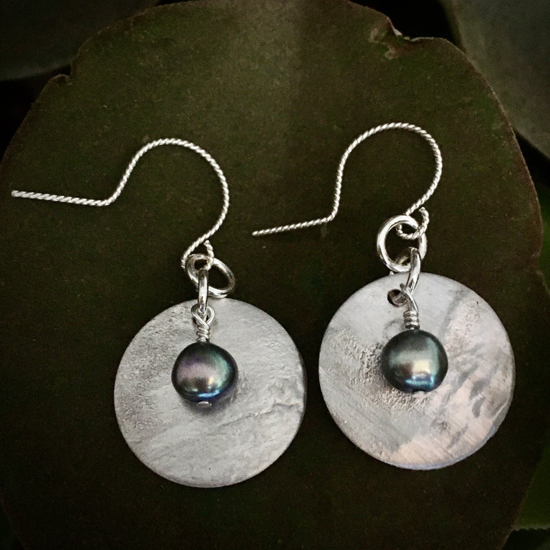 Sterling Earrings with Gray Pearls #137