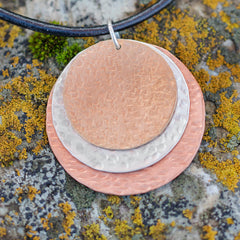 Mixed Metal Round Pendant #134