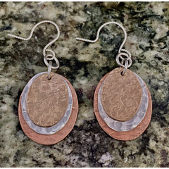 Mixed Metal Oval Earrings #132