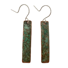 Patina Rectangle Earrings #92