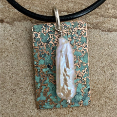 Rectangle Patina Pendant #90
