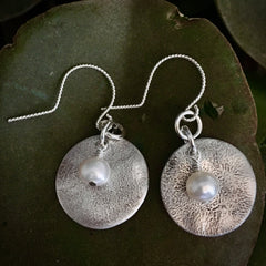 Sterling Earrings with White Pearl #116
