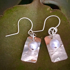 Rectangular Sterling Earrings with White Pearls #155
