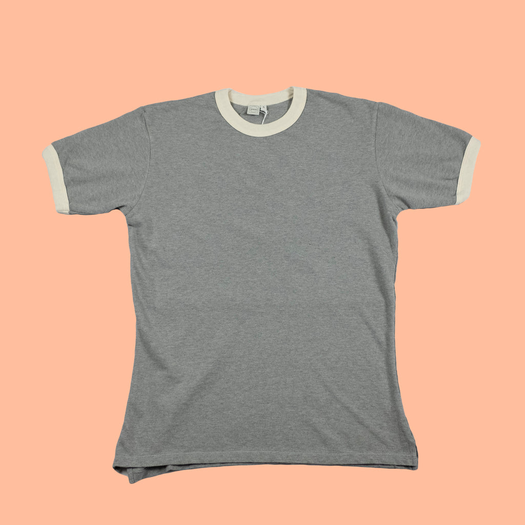 Short Sleeve Pique Ringer Tee Heather Grey