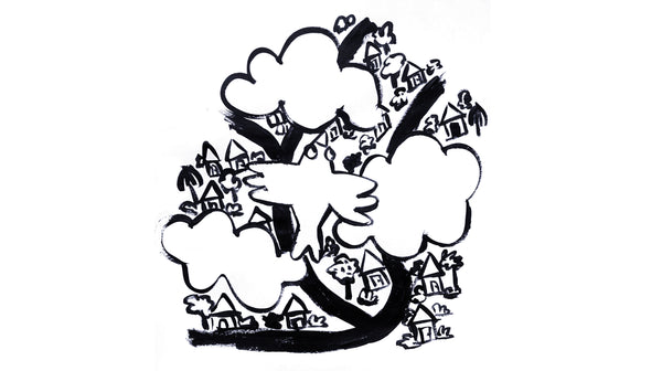 Black and white marker illustration of the top view of a bird flying over clouds and a town with houses and roads.