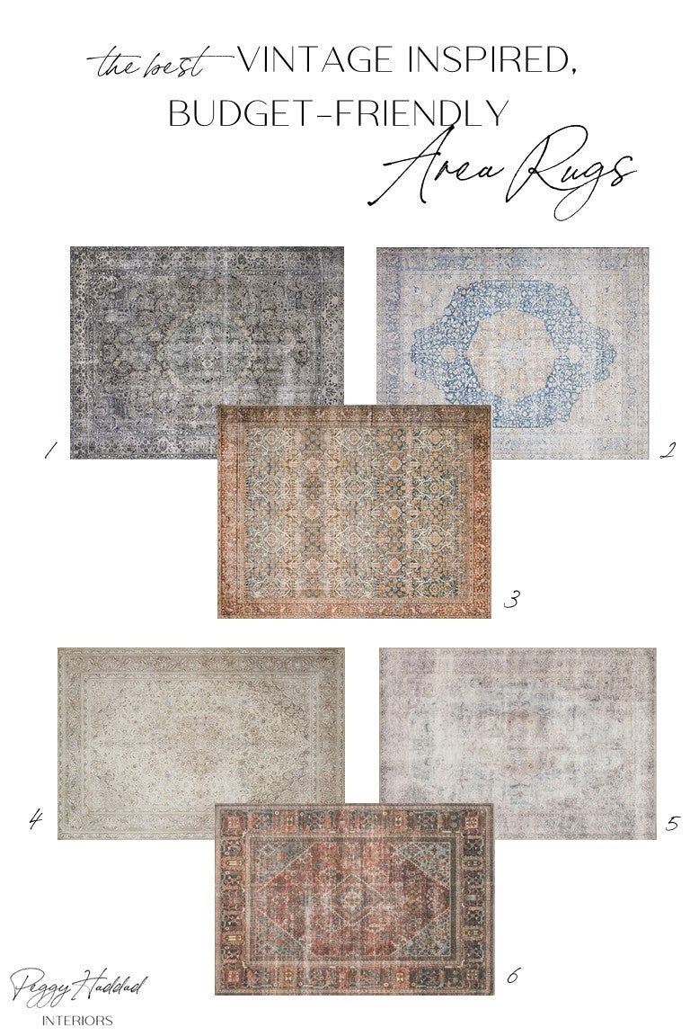 Affordable Vintage Looking Rug Round-Up by Peggy Haddad Interiors