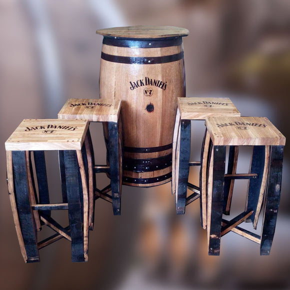 Jack Daniel's Branded Natural Wooden Barrel Patio Table and Stool Set