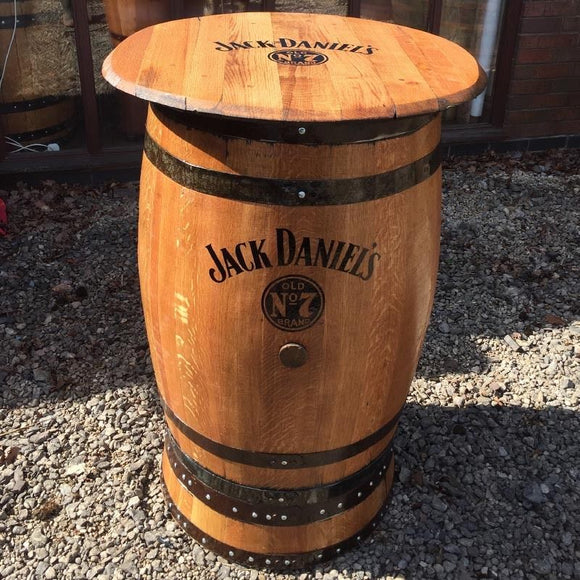 Natural Wooden Barrel Jack Daniel's Branded Pub Table with Round Top